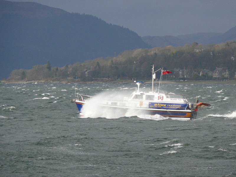 ISLAND FOX battling the waves off Gourock.<br /> 8th March 2008