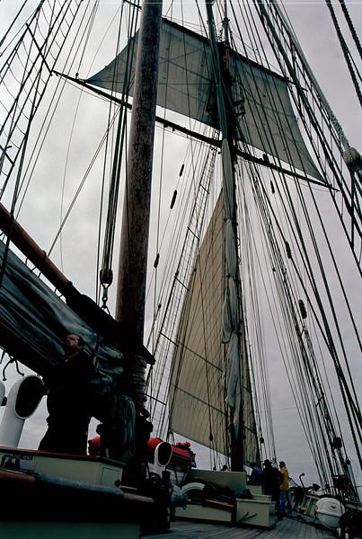 Furled mainsail