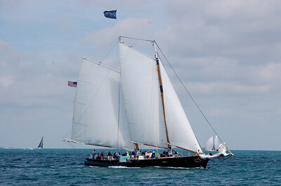 The V.I.P. Schooner replica-America was full every day with sponsor guests, and Key West visitors to catch the daily action on all 3 circles.