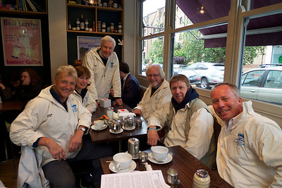 Breakfast and the handing out of the smocks. L to R: Paul Rose, Caroline Pindar, James Dougdale (Baron Crathorne, Lord Lt. of North Yorkshire), Richard Donkin, Alan Richmond (skipper and owner of the Whitby coble Gratitude) and Andrew Pindar who organised the North Yorkshire entry in the pageant.