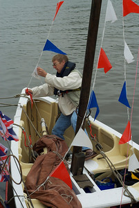 Alan gets the bunting sorted.