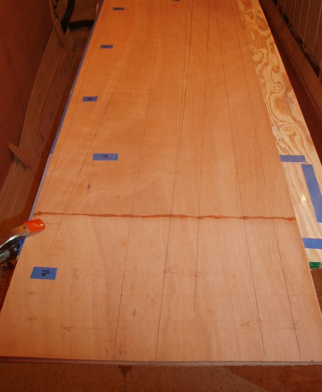 This is the stern view showing a 4 panels lofted. The darker line going across the width of the ply is the scarf joint that was glued with CA glue.