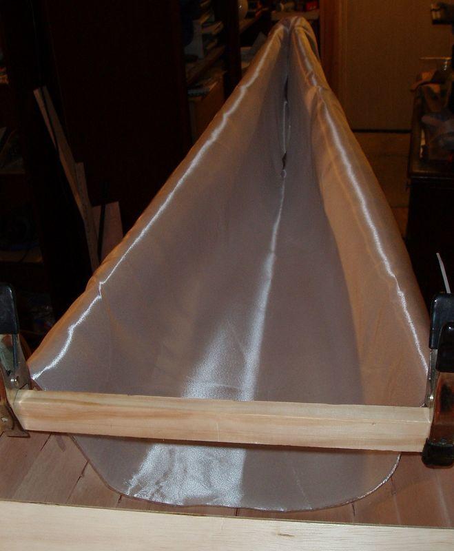 Inside bow fiberglass layup.