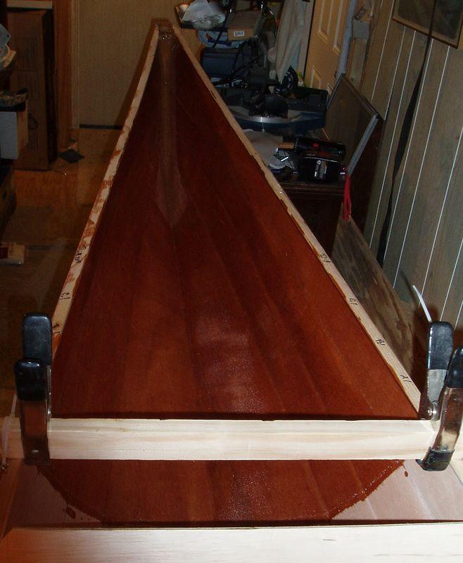 Inside bow fiberglass wetout.