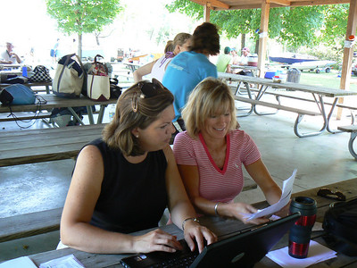 Mary Wood and Betsy Hottel working on registration.  Apparently there were some glitches in the CBYRA on-line registration that need to be worked out.