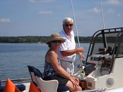 Patrol boat with Diane and Mark Freestate.