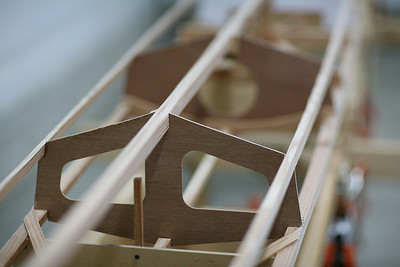 The hull structure is built from Spruce over Sapelle marine ply frames.