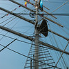 """One of the mighty masts on the Irish ss """"""""Tenacious""""."""