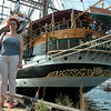 """The poop deck of the """"Americo Vespucci"""".<br /> Pure calss of it's own...<br /> Bravo!!! And.. errr, my wifey in front of it."""