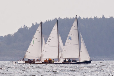 "#5 ""Kiya,"" #18 ""Daddy-O"" and #35 ""Siriol"" ,photograph, image, photography, Vacationland, sailing race, Small Point Sailing Club"