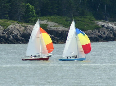 "#7 ""Santa Maria"" and   #9 ""On Edge"" spinakers up ,photograph, image, photography, Vacationland, sailing race, Small Point Sailing Club"