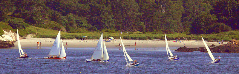 Beach Sail ,photograph, image, photography, Vacationland, sailing race, Small Point Sailing Club