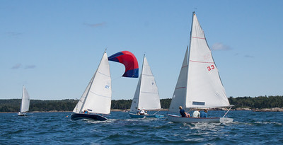 Small Point One Design sailboats nearing finish of sailing race, Phippsburg, Maine, # 21 with loose spinnaker, , #33, ,photograph, image, photography, Vacationland, sailing race, Small Point Sailing Club