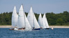 #27, #25, #35 and three unidentified boats, Bailey Beach in the background, photograph, image, photography, Vacationland, sailing race, Small Point Sailing Club