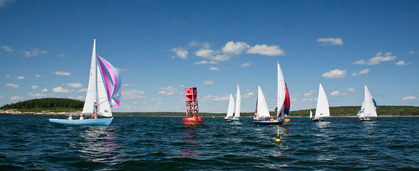 Sail boat race around red navigational can, spinnakers, clouds, photograph, image, photography, Vacationland, sailing race, Small Point Sailing Club