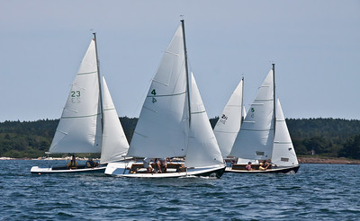 # 23, # 4, # 5, Small Point One Design sailboats during summer, regatta, Totman Cove, Phippsburg, Maine ,photograph, image, photography, Vacationland, sailing race, Small Point Sailing Club