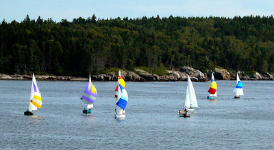 Small Point Sailing Club regatta, spinnakers up at finish, Hermit Island in the background, Phippsburg, Maine ,photograph, image, photography, Vacationland, sailing race, Small Point Sailing Club