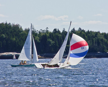 "#23 ""Coo Coo"" and #22 ""Glimmer"" A.K.A. ""Raga Muffin"" ,photograph, image, photography, Vacationland, sailing race, Small Point Sailing Club"