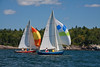 #7, red hull, Santa Maria, # 3, medium blue hull, spinnakers up, Bailey Beach, Phippsburg, Maine, sail boat races, photograph, image, photography, Vacationland, sailing race, Small Point Sailing Club