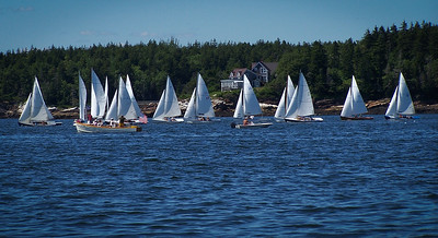 Almost full fleet passing Newbury Point ,photograph, image, photography, Vacationland, sailing race, Small Point Sailing Club