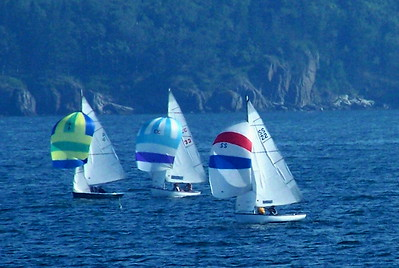 "Spinakers up #4 ""Ceci,"" #33 ""Allegro,"" and #22 ""Glimmer,"" A.K.A., ""Raga Muffin"" ,photograph, image, photography, Vacationland, sailing race, Small Point Sailing Club"