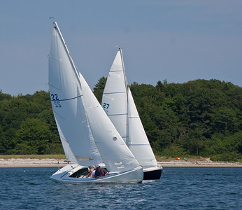 #22, #27, fighting for wind, Bailey Beach in the background, Phippsburg, Maine, photograph, image, photography, Vacationland, sailing race, Small Point Sailing Club