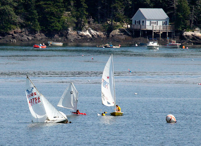 Sailing school, Small Point Summer School, Phippsburg Maine, Marin Island in background, Small Point Harbor, Casco Bay ,photograph, image, photography, Vacationland, sailing race, Small Point Sailing Club