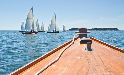 Sailing race seen from deck of West Pointer antique motorboat, Little Wood and Big Wood Islands in background to the right, photograph, image, photography, Vacationland, sailing race, Small Point Sailing Club