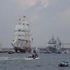 Stad Amsterdam- Dutch sail training and passenger vessel and De Ruyter, a modern Dutch Navy frigate