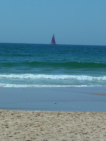 Sail Boat off Arrafina Point Portugal  by Richard Lazzara