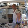 Karen Houston and Guy Cosby aboard their Sundeer 64 sloop.