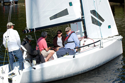 Navigating the narrow channel at the north of the harbor is not easy. Test sails went on all day in the new J-70. A fun boat, simple layout, and ease of handling are all features of the newest member of the J-boat family.