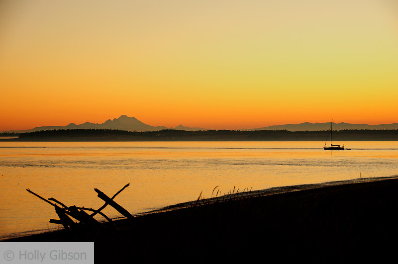 Mt. Baker and sailboat at sunrise - 81