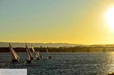 Sailboats on the Columbia - Vancouver, Washington