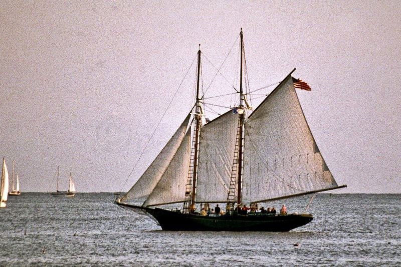 Two masted, gaff rigged sloop