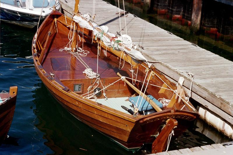 Old Woody Gaff rigged sail boat.