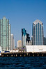 San Diego Skyline.  Emerald Plaza is the green middle building