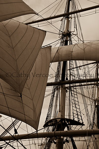 Rigging on an old trading schooner in San Diego USA.