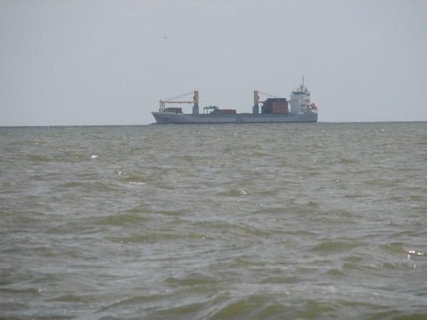 Ship Channel hazard. Note her wake.