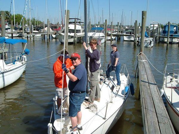 Sackett's Sailing Center's sailing class. Note LOW tide. Thank goodness for the daggerboard.