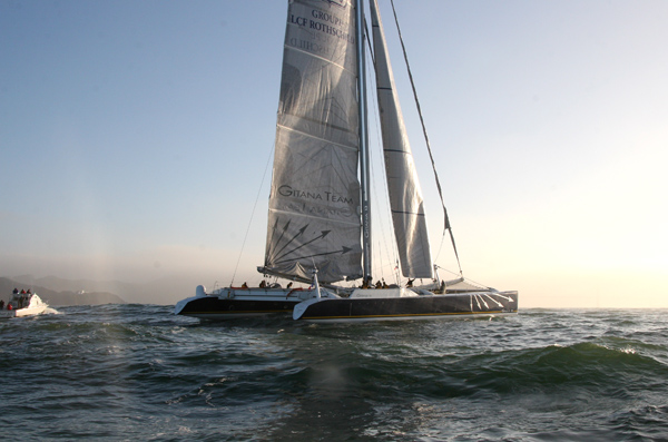 French catamaran GITANA 13 arrives in San Francisco, 2//28/08