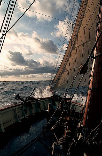 Head Rig in the Water, Pride of Baltimore II, enroute to Bermuda