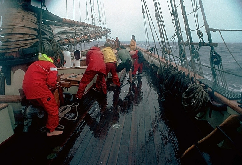Shortening Sail in a Squall, Pride of Baltimore II, enroute to Bermuda
