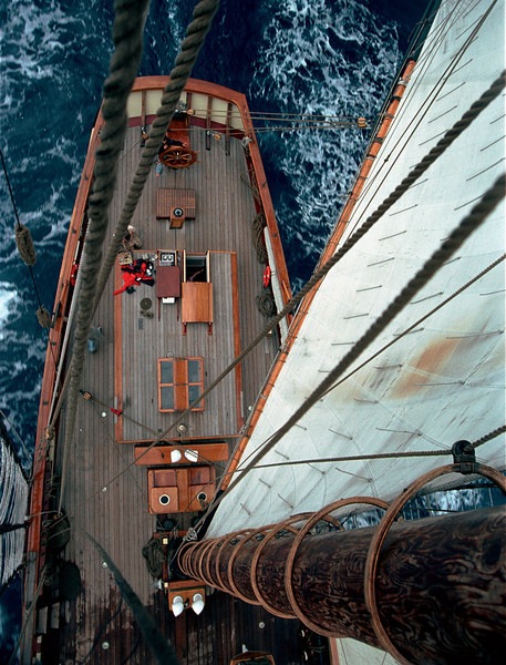 Helm from the Mainmast, Pride of Baltimore II, enroute to Bermuda