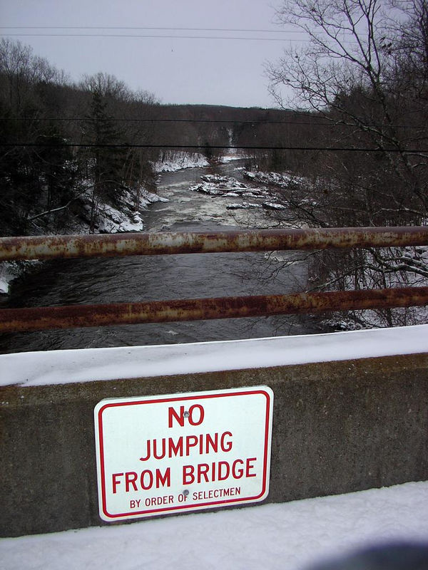 Unnecessary  advice from the Selectmen. Looking downstream from Minor Bridge.