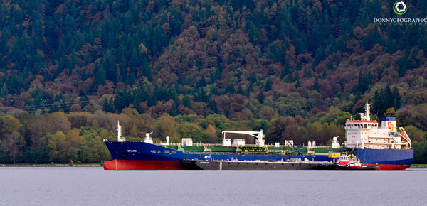 Ship at anchor , leaves changing colour