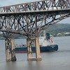 Well after a long dry spell, on 9/2/19 at 14:45 hd hrs we have asphalt / bitumen tanker Palanca Maputo inbound for Port of Albany. At 183 M = 200 yards or 2 football fields headed upriver<br /> Profile on the bridge and bowatch visable. Also note the differant color coded valve inlets which differetiate between product.