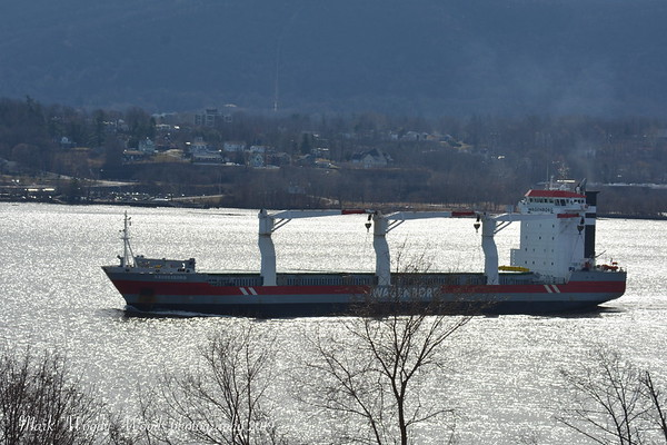 Today 3/24/19 after a spell I track bulf cargo Azoresborg inbound for Port of Albany at 10:00 hd hrs. Plenty of profileds on the bridge. At 143 meters =152 yard or 1 1/2 football fields.