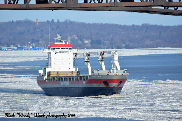 Well everybody after a long spell on 2/21/19 at 12:45 hd hrs I catch AMSTELBORG (NL) outbound for Matane Canada.<br /> Good shots of bridge including a profile.  White hat on bow not sure if bow watch.<br /> At 143 M = 156.39 yards of 1 1/2 football fields