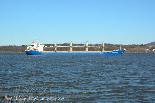 Today 2/28/19 @ 15:18 hd hrs I was out and about but was able to intercept bulk carrier Eastern Confidence at the Newburgh waterfront. Being out of position this is the best I coud get. At169m = 185 yards or a little under 2 football fields